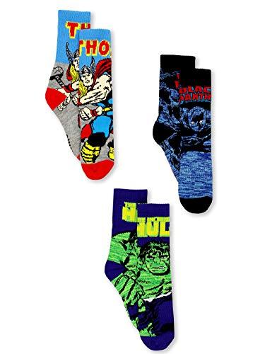 Marvel Avengers Black Panther Hulk Thor Boy's 3 pack Crew Socks Set (Shoe: 10-4 (Sock: 6-8), Black/Blue)