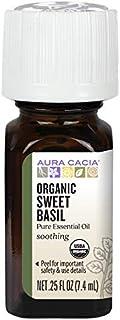 Aura Cacia Certified Organic Pure Basil, Sweet Essential Oil   0.25 fl. oz.   Ocimum basilicum