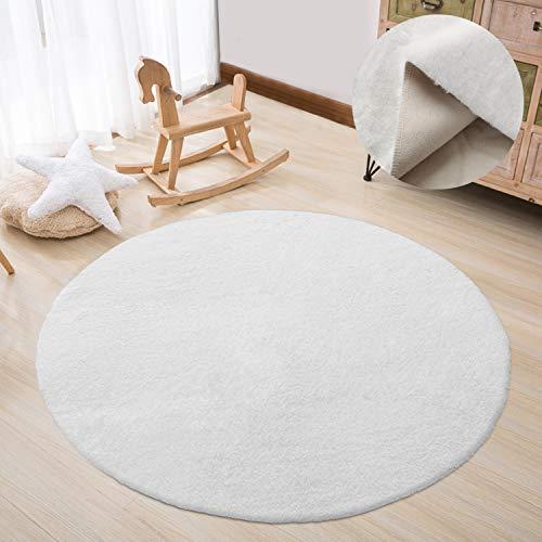 HAOCOO ラグ カーペット 円形 直径120cm ふんわり 超良い ラグマット 洗える 柔らかい 人工ウサギの毛 じゅうたん オールシーズン (ホワイト)