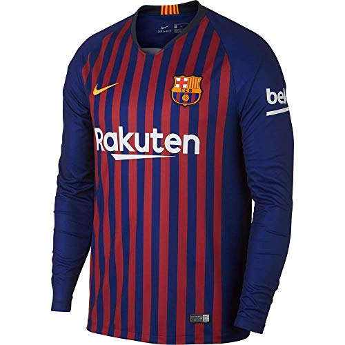Nike FC Barcelona Stadium Home Men's Long Sleeve Soccer Jersey 2018/19 (2XL)
