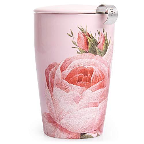 Tea Forte Kati Cup Tazza da infusore da tè in ceramica con cestino e coperchio per ripiani, Jardin