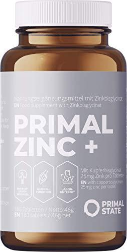 PRIMAL ZINC+ Tabletten - 180 Zink Tabletten hochdosiert mit 25mg Zink und Kupfer - Halbjahresvorrat - Aus Zinkbisglycinat und Kupfer-Bisglycinat - Vegan, Laborgeprüft & ohne Zusätze