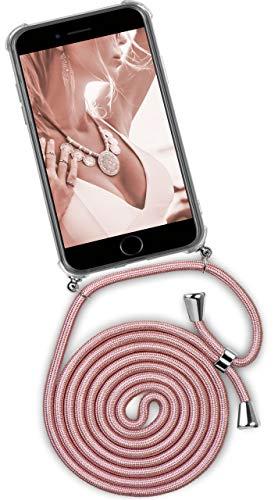 ONEFLOW® Handykette + Hülle passend für iPhone 6S Plus / 6 Plus | Stylische Kordel Kette - Kristallklare Handyhülle mit Band zum Umhängen in Rosa Rosé-Gold