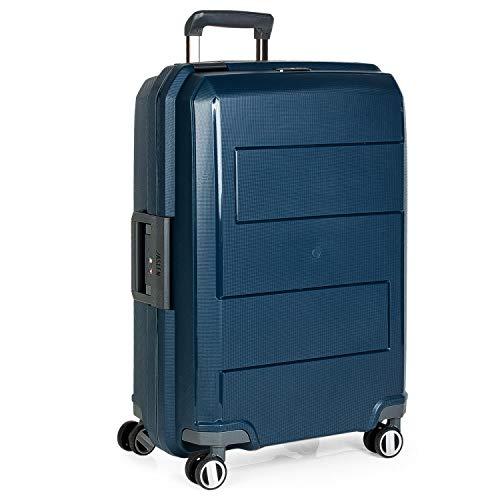 JASLEN - Valigia rigida trolley 4 ruote 64 cm medio. Polipropilene. Resistente e leggero Maniglia, maniglie e lucchetto TSA. Ermetica. Per studenti e professionisti 161.160, Color Marino
