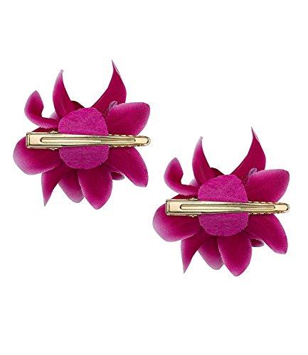 SIX 2er Set Haarspangen [Damen Haarschmuck] - Premium Haarclips » Clips für Haar « Beliebter Frauen Schmuck - Stylische Haarklammer mit Textil-Lilien – vergoldete Haarnadeln (488-030)