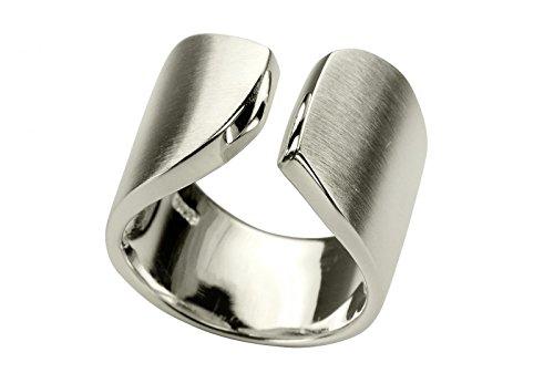 SILBERMOOS XL XXL Ringe in großen Größen Witziger Ring Damenring offen diagonal matt Größe 64, 66, 68, 70 Sterling Silber 925, Größe:66 (21.0)