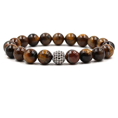 QYAQ Stone Bracelet For Women,7 Chakra Natural Tiger Eye Stone Beads Bracelet Elasticity Silver And Black Ball Bracelet Fashion Boho Yoga Lady Jewelry Gift Girlfriend Mom