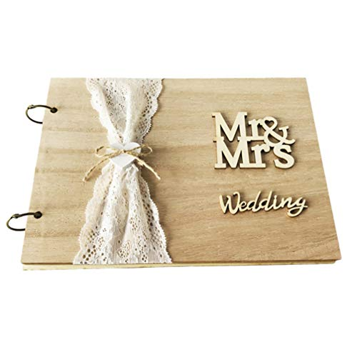 STOBOK - Libro degli ospiti in legno retrò, 10 pagine fai da te per matrimonio e invitati, in legno, per matrimonio, libro degli ospiti, per cerimonie di fidanzamento, hotel, 27 x 19 cm