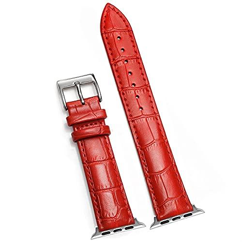 Correa de Cuero de Lujo, Adecuada para Varias Correas de Reloj de 38 mm 40 mm 42 mm 44mm de Ancho (Band Color : Red 1, Band Width : 38MM and 40MM)