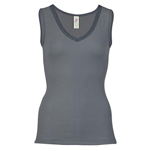 Engel-Natuur, 874050, onderhemd voor dames, okselhemd met V-hals en kant, 100% bio-katoen, kbA