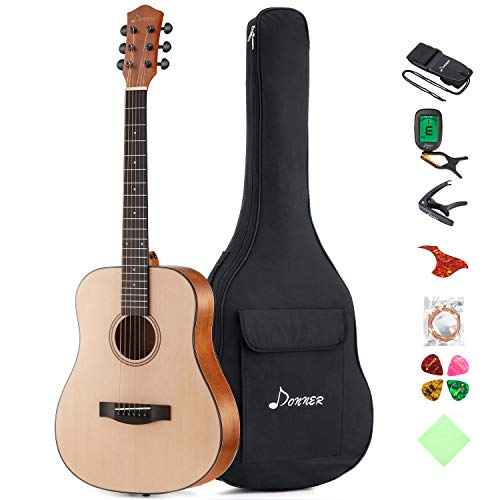 Donner 36'' Dreadnought Acoustic Guitar Package 3/4 Size Beginner Guitar Kit DAG-1M Spruce Body With Bag Capo Tuner Strap String Guitar Picks