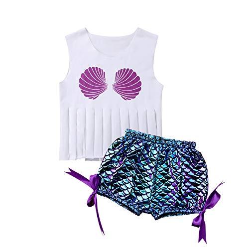 Topgrowth Costumi Bambina Mare Costume Bagnarsi Spiaggia Costumi da Bagno Neonata Swimsuit Nappa Canotta + Pantaloncini Stampa A Scala di Pesce Bimba