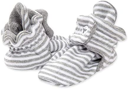 Burt s Bees Baby baby boys Booties Organic Cotton Adjustable Infant Shoes Slipper Sock Heather product image