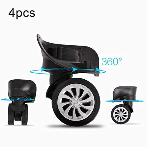 Ajboy - Ruedas de repuesto para maleta de equipaje (4 unidades), color negro, Black 4pcs, 10.2*6.5cm