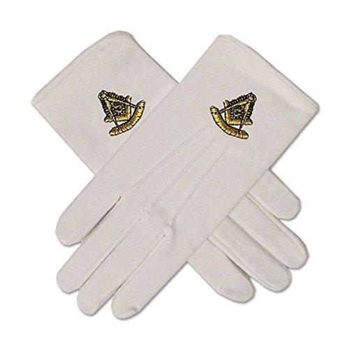 Past Master Masonic Embroidered Cotton Gloves - [White]