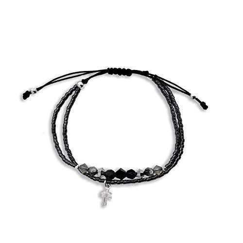 Alessandra Boho - Pulsera Mujer Ajustable de Hilo Negro con Cristales de Swarovski y Mini Cruz de Caravaca de Plata