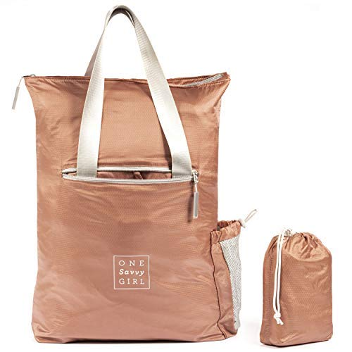 Packable Backpack for Women in Rose Gold - Lightweight Foldable Daypack and Tote Bag Perfect for Hiking, Walking, Travel & Adventure