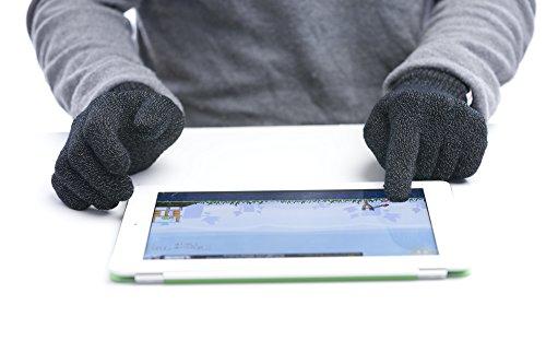Agloves Polar Sport - Guantes unisex para pantalla táctil/smartphone, forro polar interior para mayor comodidad y calidez, compatible con: iPhone, Android, iPad y Nexus - M/L negro
