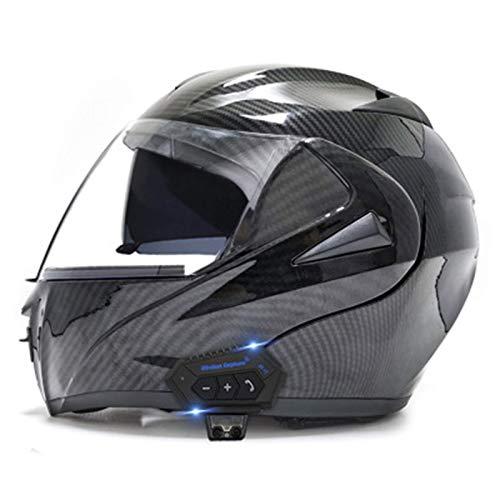 XYXZ Cascos Integrales De Moto Cascos De Moto, Casco Modular con Bluetooth, Doble Visor, Cascos Integrales, Casco Aprobado por Dot/Ece, Micrófono De Altavoz Incorporado para Hombres Y Muje