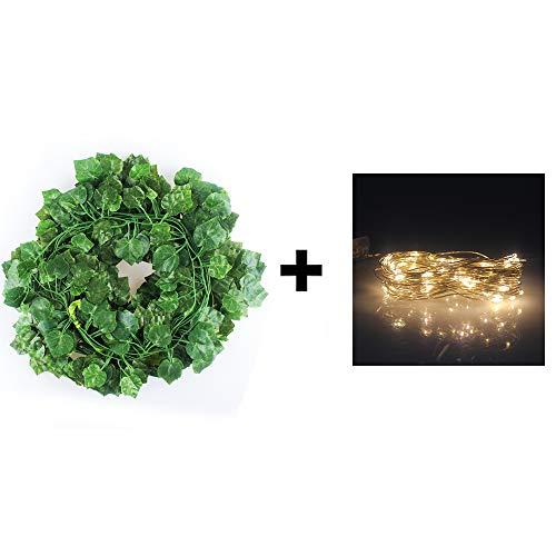 Künstliche Efeugirlande mit 80 LED-Lichterkette, ca. 90 m lang, mit batteriebetriebener LED-Lichterkette für Zuhause, Küche, Garten, Büro, Hochzeit, Wanddekoration