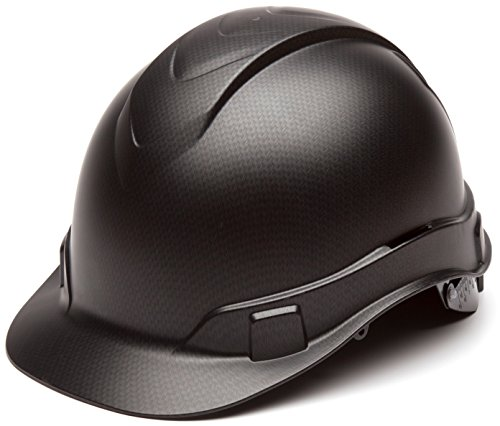 Pyramex Ridgeline Cap Style Hard Hat, 4-Point Ratchet Suspension, Black Graphite...