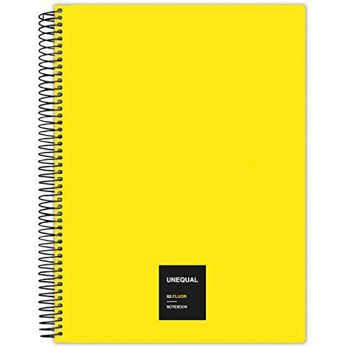 Grafoplás 88526061. Cuaderno con Espiral, A4, Cuadriculado 5 mm, 100 Hojas, 90 gr, Amarillo, Unequal Flúor
