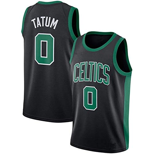 Men's Basketball Uniform, Celtic Tatum No. 0 Jersey, Swingman Polyester Mesh Fan Jersey, The Best Gift for Fans Black-XL