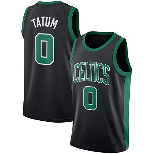 Men's Basketball Uniform, Celtic Tatum No. 0 Basketball Jersey, Swingman Polyester Mesh Fan Jersey, Basketball Game Sleeveless Vest, Suitable for Training and compet Black-XL