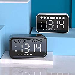 Alarm Clock Radio Speaker with FM, Loud Dual Alarm for Heavy Sleepers, Portable Wireless Bedside Kids,LED Digital Display, Bluetooth Speaker with Mic,Dimmer, Snooze, Home MP3