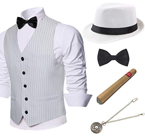 Coucoland 1920 - Set di accessori da uomo Mafia Gatsby Gangster Gangster, con cappello da panama, gilet classico da uomo, pre-annodato con papillon e sigaro giocattolo A righe bianche M