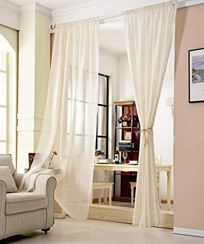 WOLTU® VH6065cm, Gardinen transparent mit Kräuselband Leinen Optik, Vorhang Stores Voile Fensterschal Dekoschal für Wohnzimmer Kinderzimmer Schlafzimmer, 140x145 cm, Crème, (1 Stück)