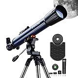 ESSLNB Telescopio 70070 Telescopios Astronomicos con Adaptador de Teléfono Ajustable Acero Inoxidable Trípode Erecto-Imagen Alcance Del Buscador Lente de Barlow