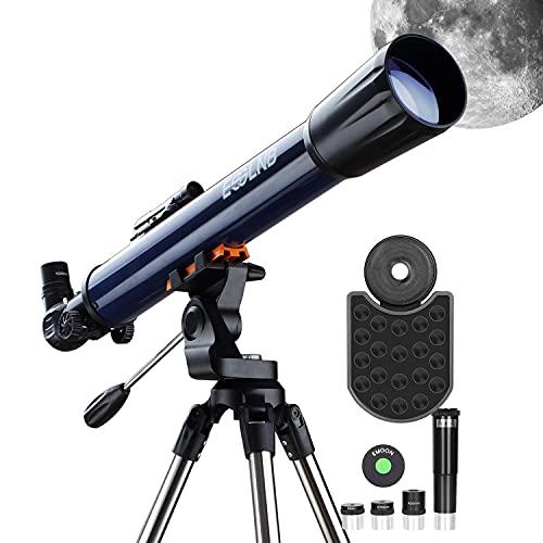 ESSLNB Telescopio 70070 Telescopios Astronomicos con Adaptador de Teléfono Ajustable Trípode de Acero Inoxidable Punto Rojo Buscador Lente de Barlow Filtro de Luna