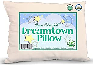 DREAMTOWN KIDS Organic Big Kid Size Pillow with Organic Cotton Shell - 16 x 22 Perfect Size - Soft and Hypoallergenic - Made in The USA - Machine Washable