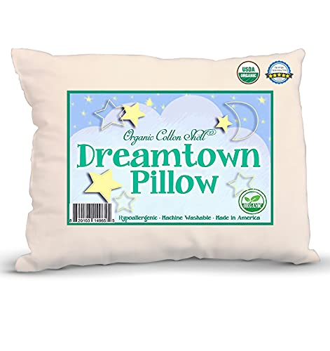 king pillow for kids DREAMTOWN KIDS Organic Big Kid Size Pillow with Organic Cotton Shell - 16 x 22 Perfect Size - Soft and Hypoallergenic - Made in The USA - Machine Washable