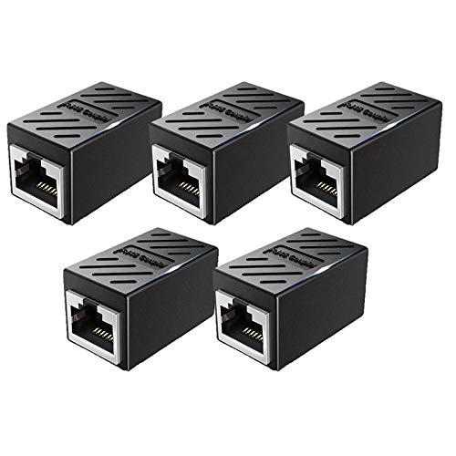Confezione da 5 accoppiatori RJ45 schermati Ethernet Cat7 in linea lan accoppiatore 8P8C adattatore ideale per estendere i cavi Ethernet femmina a femmina connettore – nero