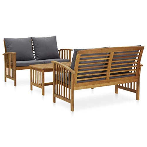 vidaXL Madera Maciza de Acacia Muebles de Jardín 3 Piezas Mobiliario Exterior Hogar Cocina Terraza Mesa Silla Asiento Suave con Respaldo con Cojines