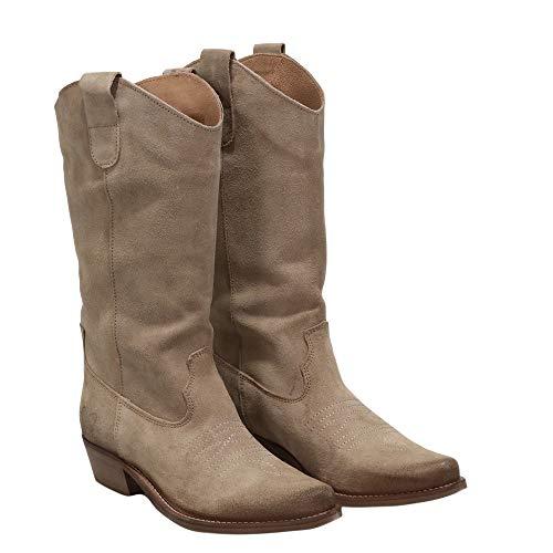 Felmini - Damen Schuhe - Verlieben Gerbera 7962 - Cowboy & Biker Stiefel - Echtes Leder - Beige - 37 EU Size