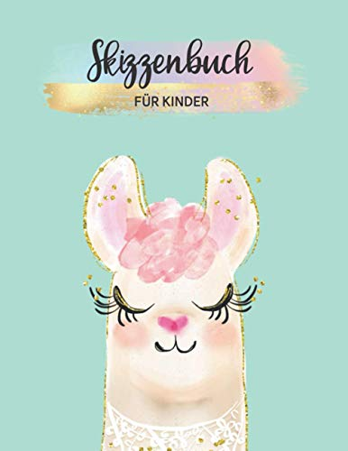 Skizzenbuch für Kinder: A4 Blanko 112 leere Seiten | Kreativheft zum Zeichnen, Malen und Skizzieren für Mädchen | schönes Geschenk | Malheft Lama mint