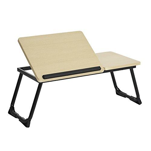 Tavolo da letto con supporto per computer portatile, pieghevole, altezza regolabile, piano finitura in rovere, base in metallo nero, L65-75,5 x P3xH29 cm