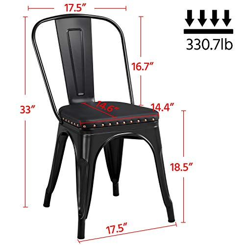 Yaheetech 4pcs Metal Dinning Chairs with PU Leather Seat High Back Soft Cushioned Industrial Classic Iron Chairs Chic Dining Bistro Cafe Coffee Chair 18 Inch Black