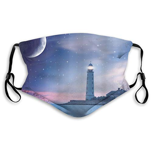 ALLMILL Lighthouse at Night Oceanic Space and Stars Moon Smock Fantasy Magical View Unisex Washable Mouth Sleeve with Filter Anti-Dust Reusable Mouth Guard-Include 2 Filters