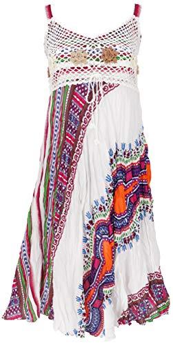 GURU SHOP Minikleid, Sommerkleid, Krinkelkleid, Damen, Weiß/Flieder, Synthetisch, Size:38, Kurze Kleider Alternative Bekleidung