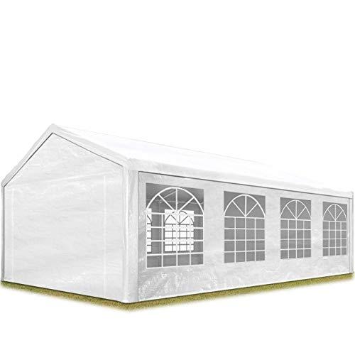 TOOLPORT Tendone per Feste Gazebo 4x8 m Bianco PE 180g/m² Impermeabile Protezione UV Tenda Giardino Sagre Eventi Mercati Esterno