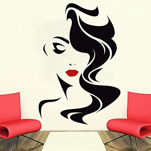 Tatuajes de pared Salón de belleza para los labios rojos de la señora vinilo pegatina decoración para el hogar Peluquería Peinado Peinado Barberos Ventana Calcomanía 58X85CM