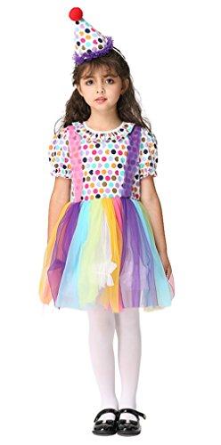 Cloud Kids Mädchen Clown Kleid und Hut Set Kleinkind Clown Kostüme für Halloween, Fasching, Festival Cosplay L