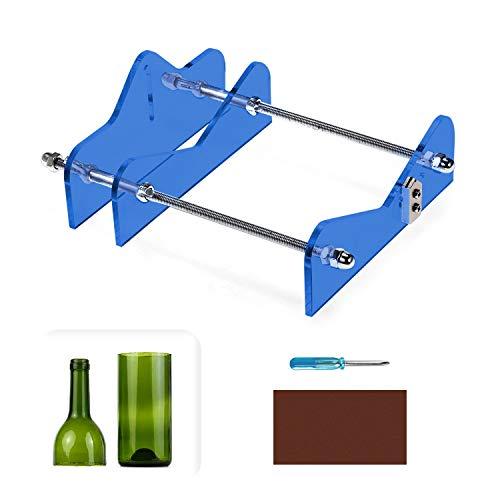Cortador de Botellas de Vidrio Profesional,Herramientas Botellas de Corte,Corte Máquina de Vino Cerveza, Hecho de Acrílico y Metal (azul)