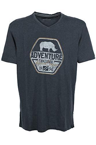 Kitaro T Shirt Herren Kurzarm V Ausschnitt Baumwolle Plusgröße, Farbe:dunkelblau, Herrengrößen:6XL