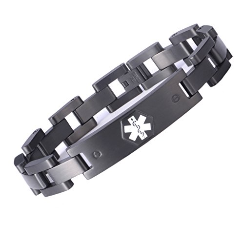 LinnaLove The Black Military Style Medical Alert Bracelet Jewelry for Men and Women pre-Engraving:Blood THINNER(XL)