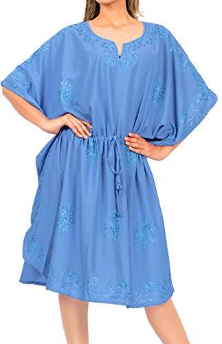 LA LEELA Damen Abnutzung Schwimmen Abdeckung Kaftan Boho Kleid Schlaf ups Frauen Navy blau_Y915 DE Größe: 42 (L) - 52 (4XL)